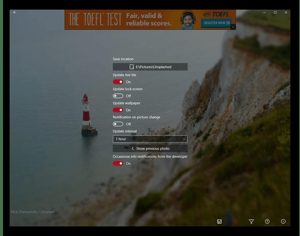 Интерфейс приложения Splash - Unsplash Wallpaper для смены фона рабочего стола