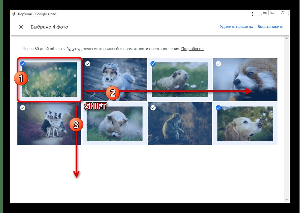 Множественное выделение изображений в корзине на сайте сервиса Google Фото