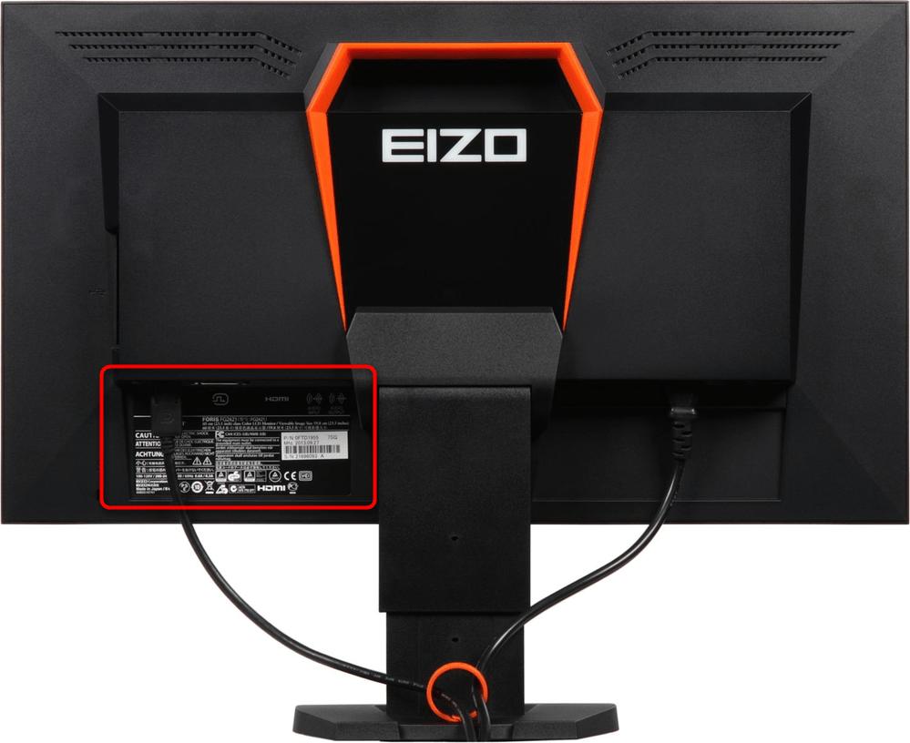 Наклейка на мониторе с информацией о диагонали экрана ноутбука
