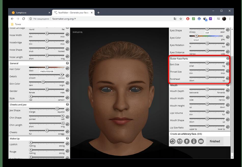Настройка внешних параметров лица через онлайн-сервис FaceMaker