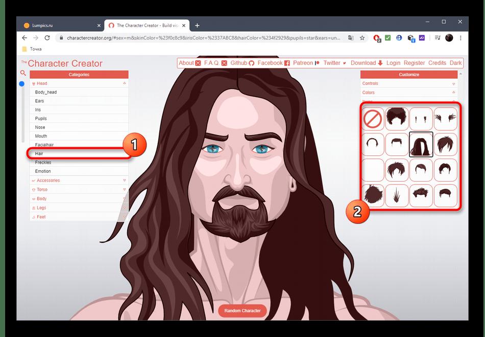Настройка волос персонажа через онлайн-сервис Character Creator