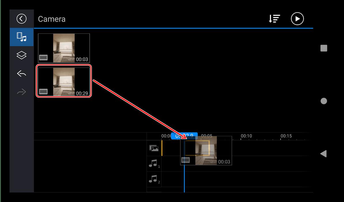 Помещение файлов в проект в приложении для создания эдитов PowerDirector