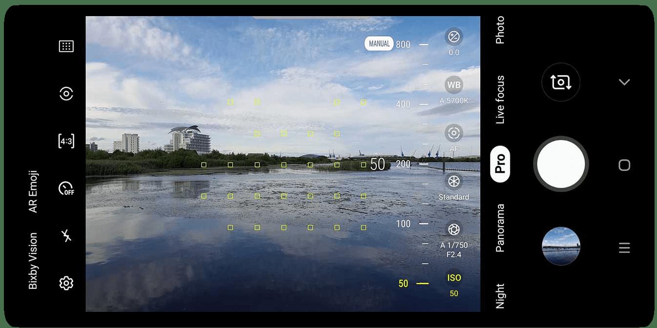 Режим ручных настроек в приложении для улучшения качества снимка на Android
