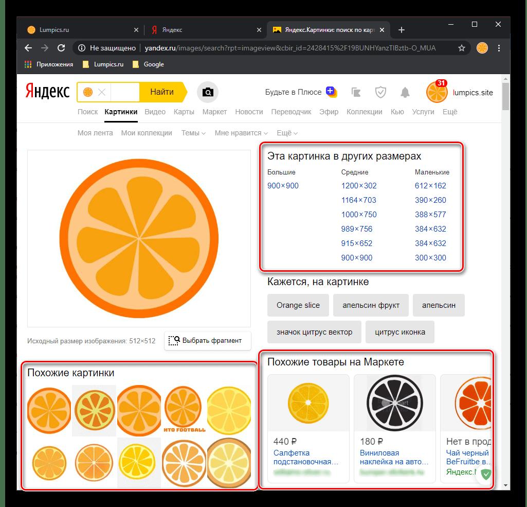 Результат поиска картинки по картинке в Яндексе через браузер