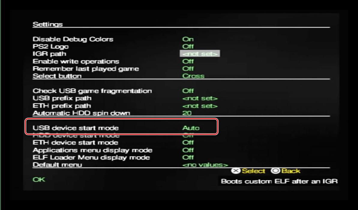 Сканирование носителя в OPL для запуска игр с USB накопителя на PlayStation 2