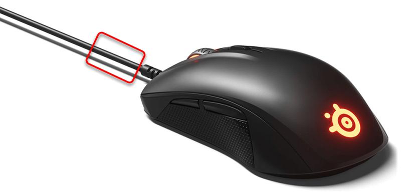 Участок кабеля мышки для обрезки и перепайки