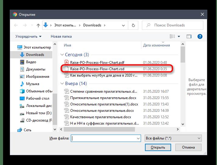 Выбор файлов для конвертирования VSD в PDF через онлайн-сервис Zamzar