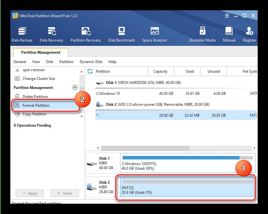 Выбор операции форматирования защищённой флешки в MiniTool Partition Wizard
