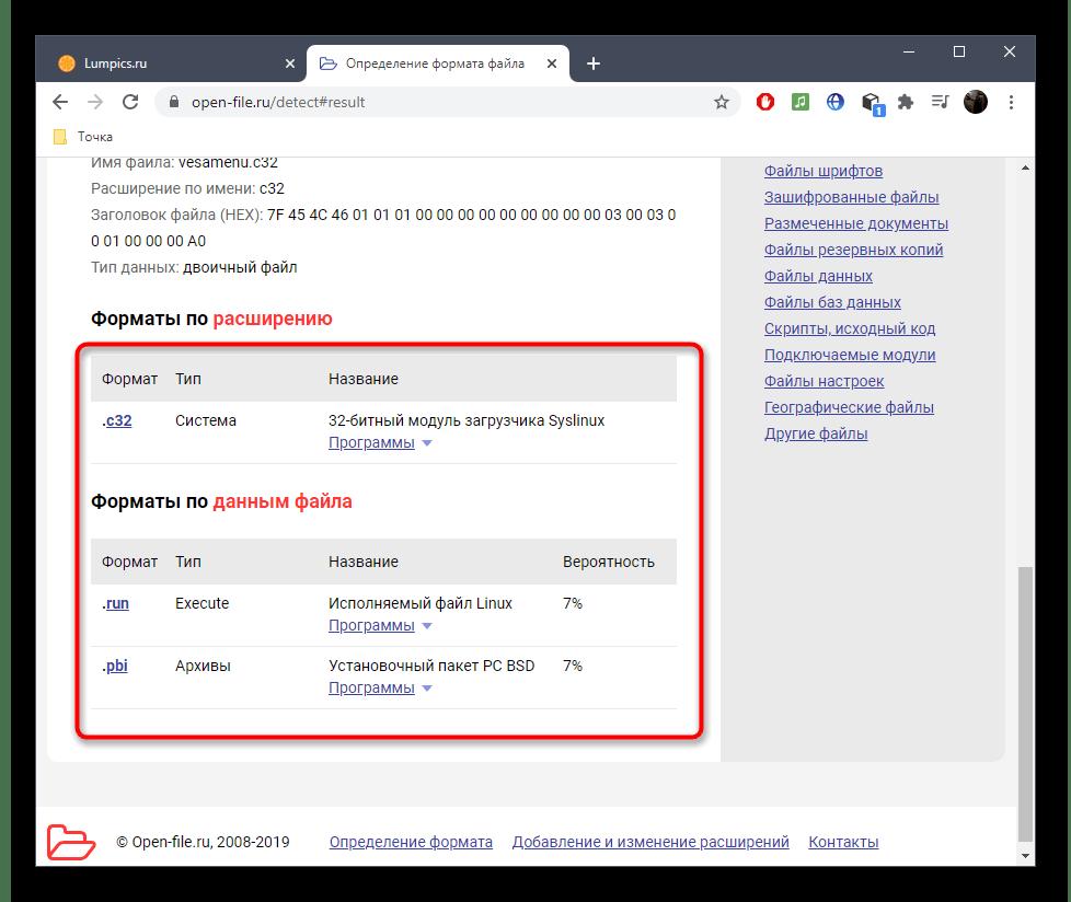 Дополнительная информация о формате файла через онлайн-сервис Open File