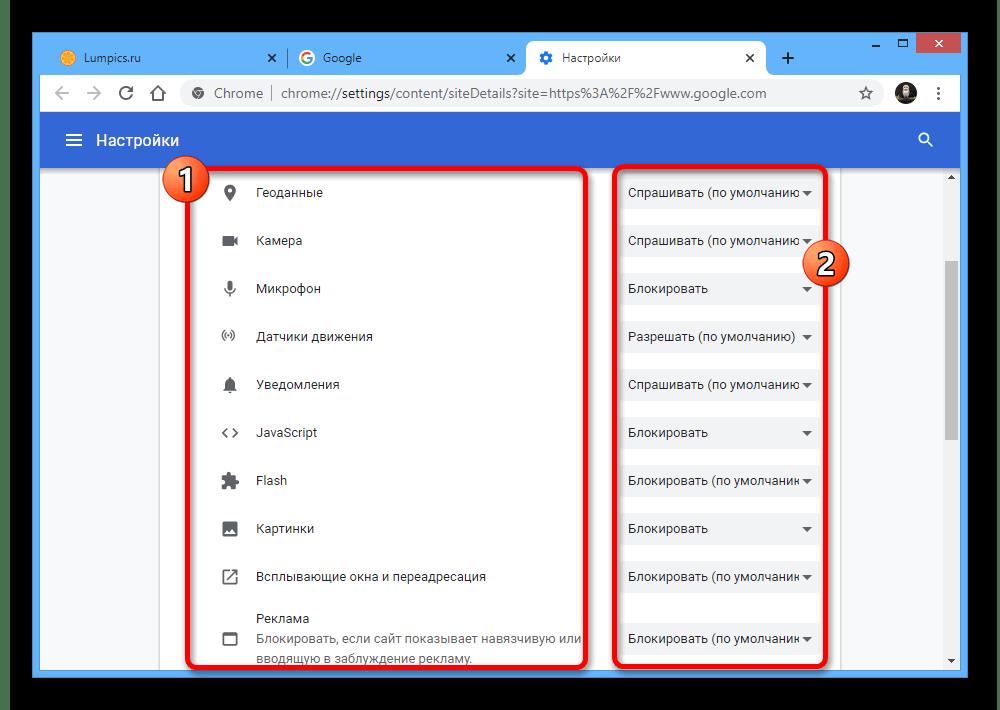 Изменение настроек сайта Google в браузере Google Chrome на ПК