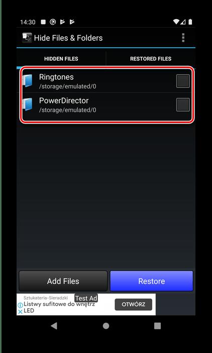 Каталоги в Hide Files для скрытия скрытых папок в Android