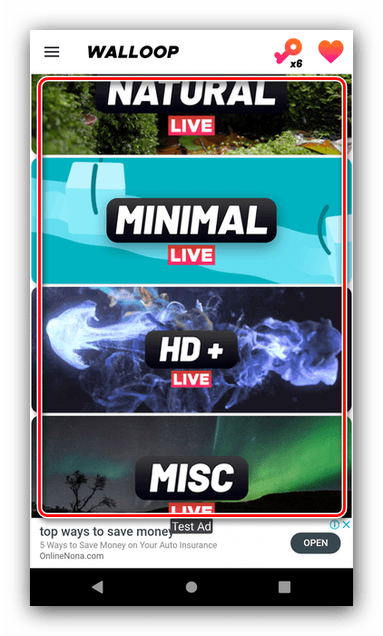 Категории доступных картинок в Waloop Live Walpapers для установки живых обоев на Android