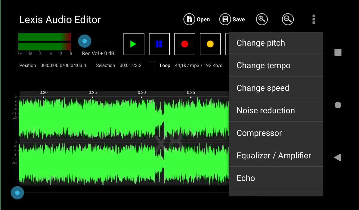 Наложение эффектов на трек в аудиоредакторе для Android Lexis Audio Editor