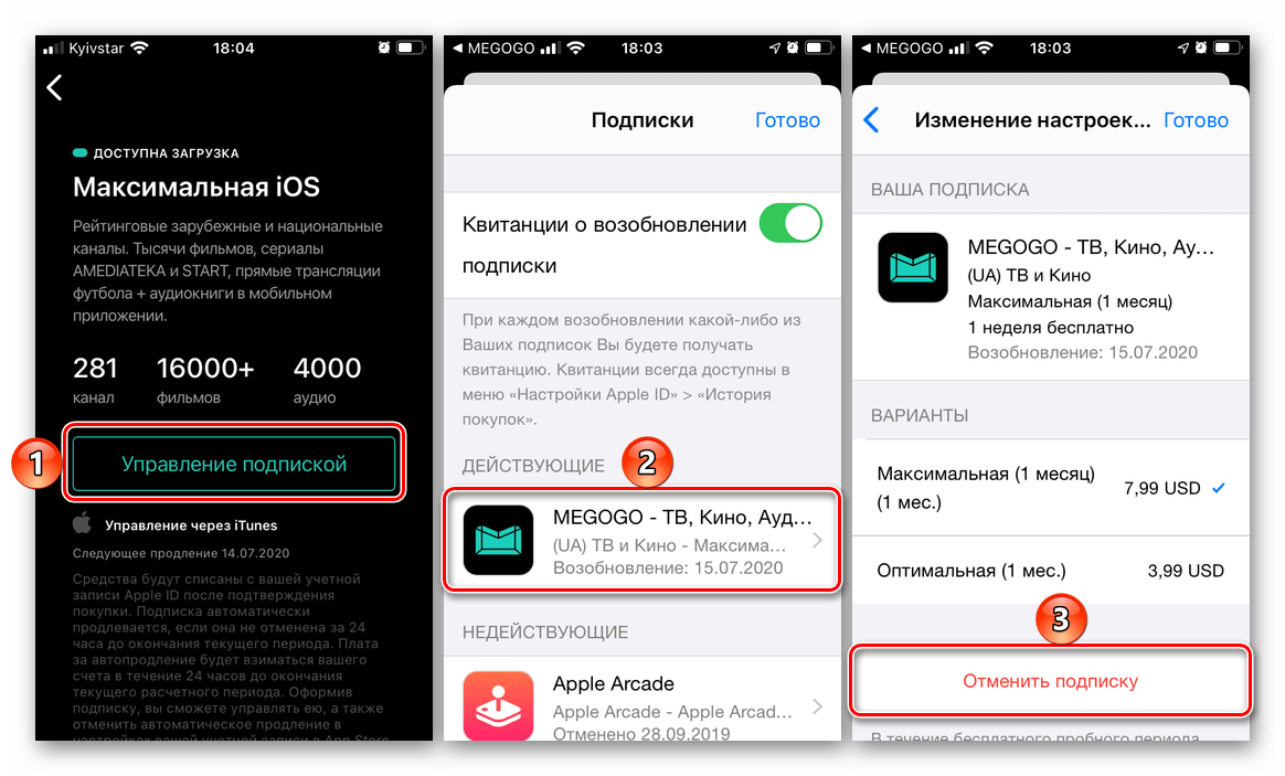 Отмена подписки на Megogo через меню приложения и в App Store на iPhone