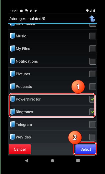 Отметка и добавление папок в Hide Files для скрытия скрытых папок в Android