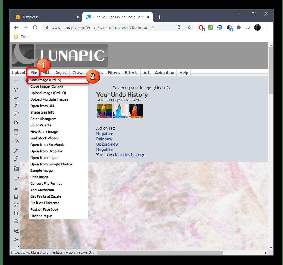 Переход к сохранению изображения после наложения негатива в онлайн-сервисе LunaPic