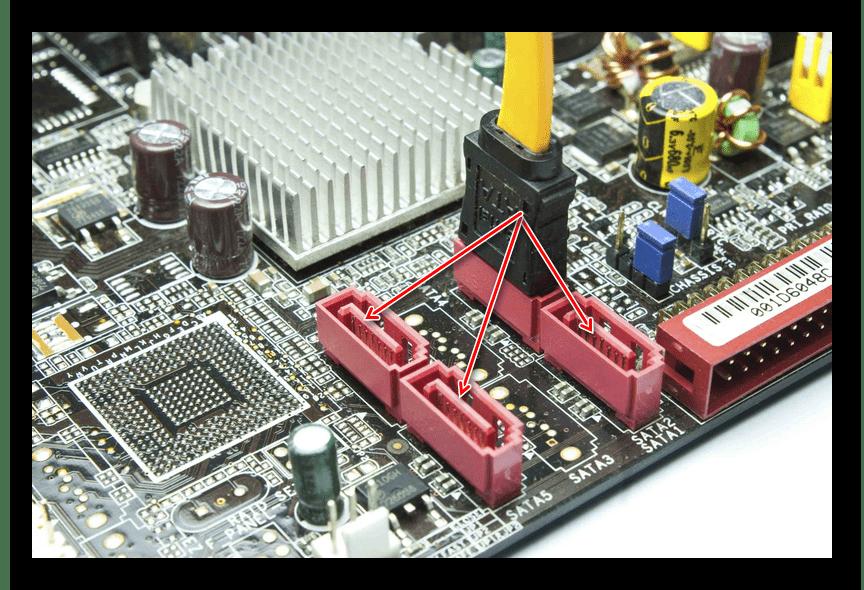 Подключение жесткого диска у другому SATA-порту на материнской плате при ошибке No Bootable Device