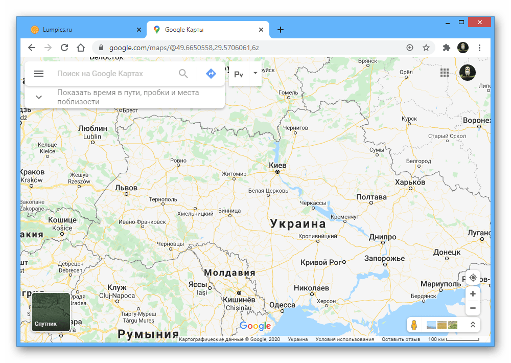 Пример интерфейса на веб-сайте Google Maps