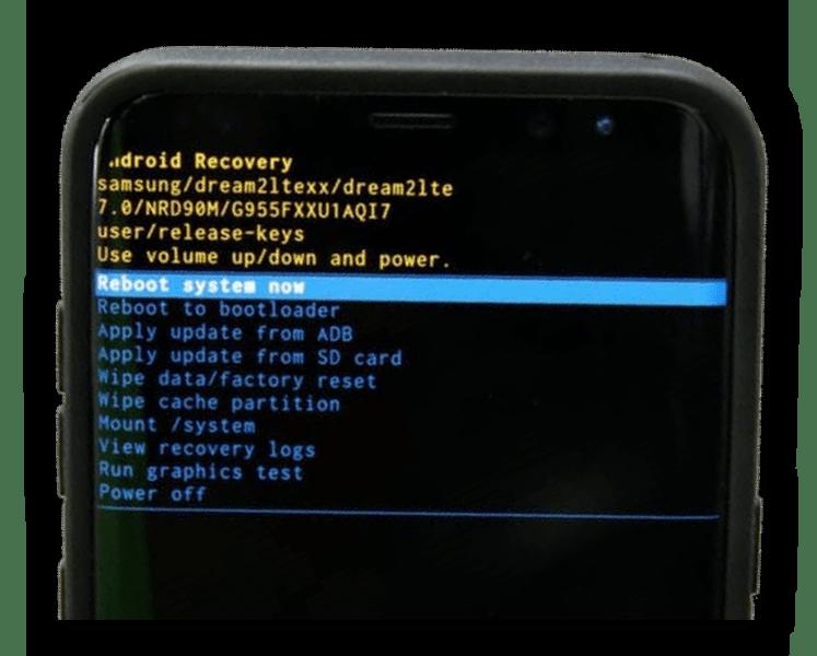 Пример сброса Samsung к заводскому состоянию через системное меню