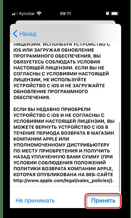 Принять условия и положения для использования приложения Почта на iPhone