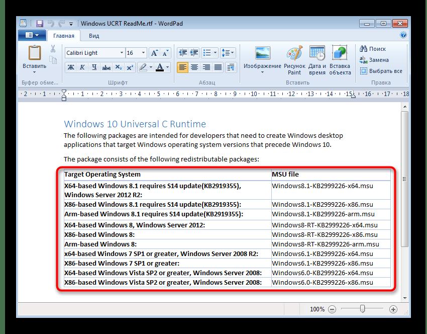 Просмотр версий обновления для решения ошибки с кодом 0x80240017 в Windows 7