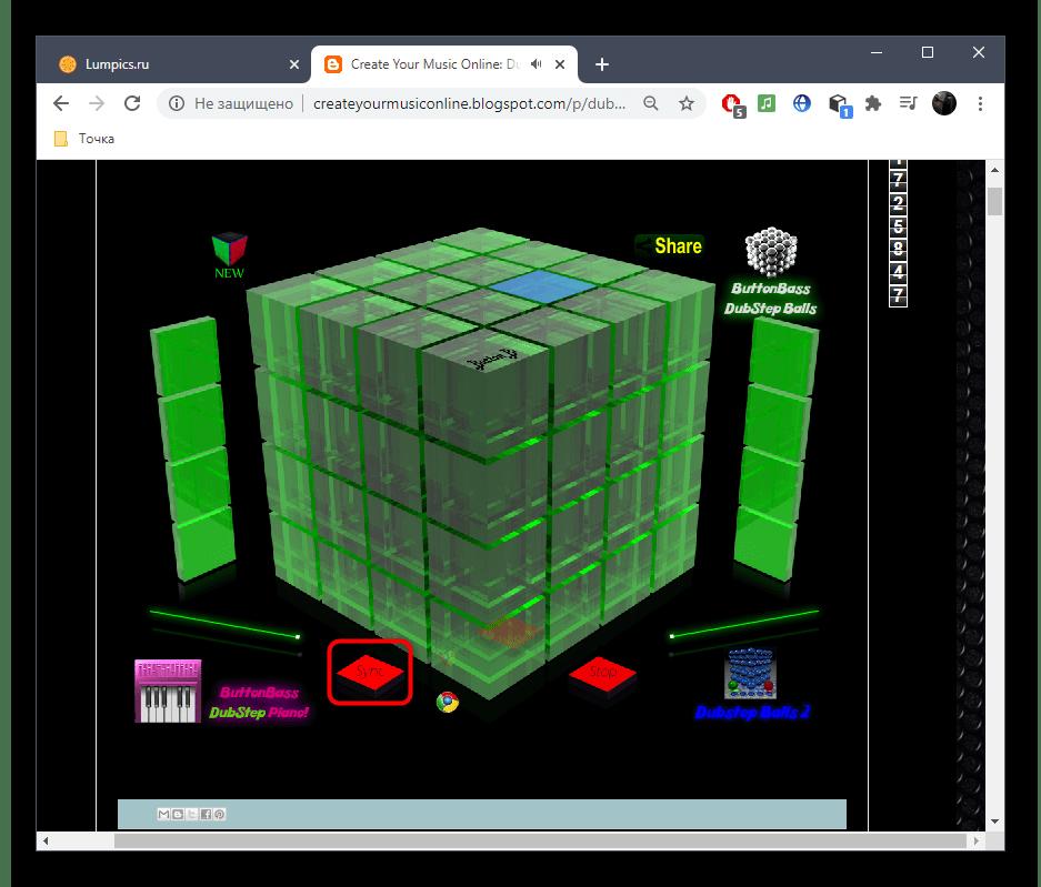 Синхронизация отдельных блоков при воспроизведении через онлайн-сервис Dubstep Cube