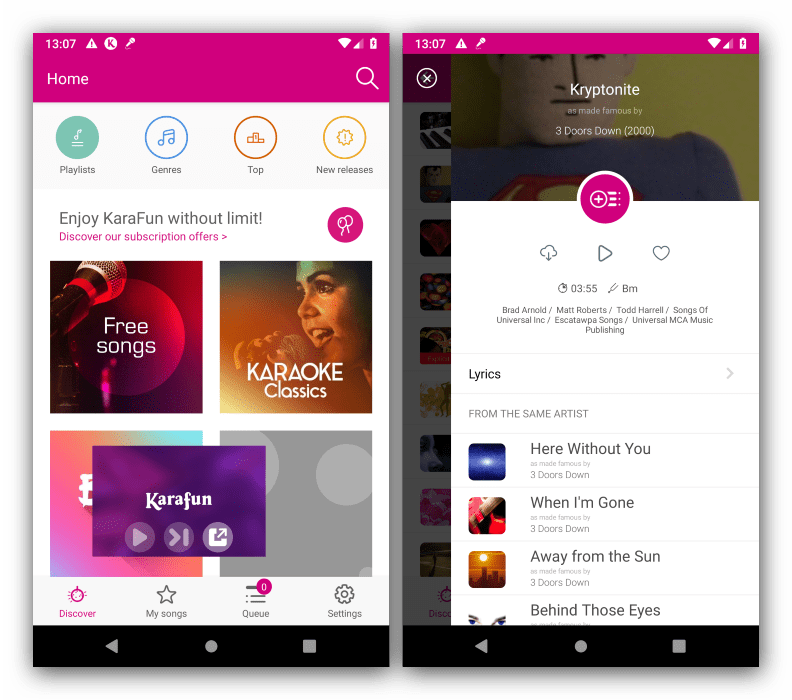Внешний вид и особенности в приложении для караоке на Андроид KaraFun