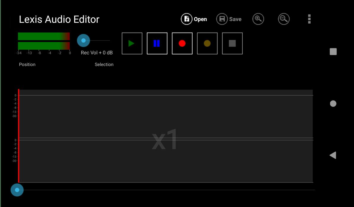 Внешний вид интерфейса аудиоредактора для Android Lexis Audio Editor