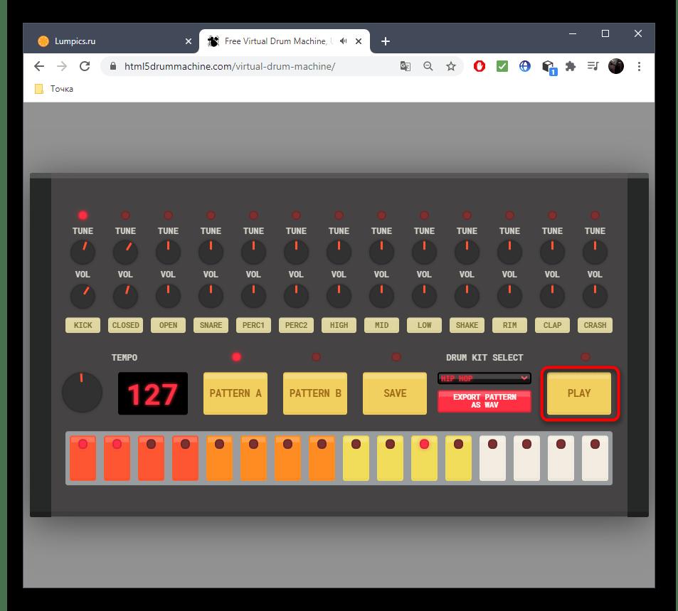 Воспроизведение музыки при создании через онлайн-сервис Virtual Drum Machine