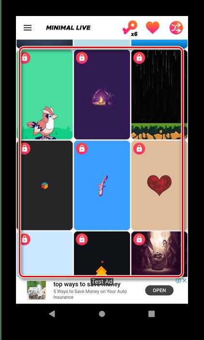 Выбор картинки в Waloop Live Walpapers для установки живых обоев на Android