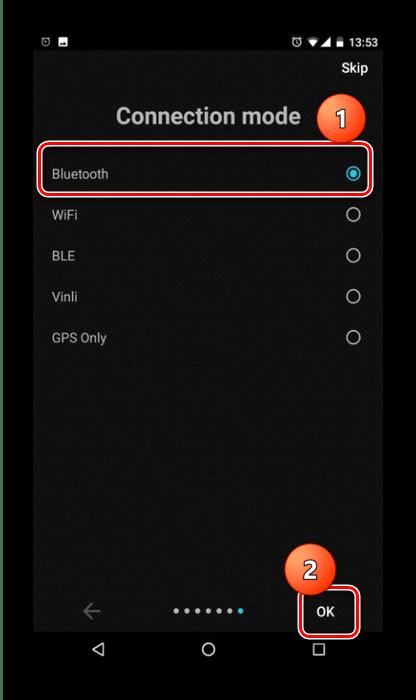 Выбрать режим подключения для использования ELM327 на Android посредством InCarDoc