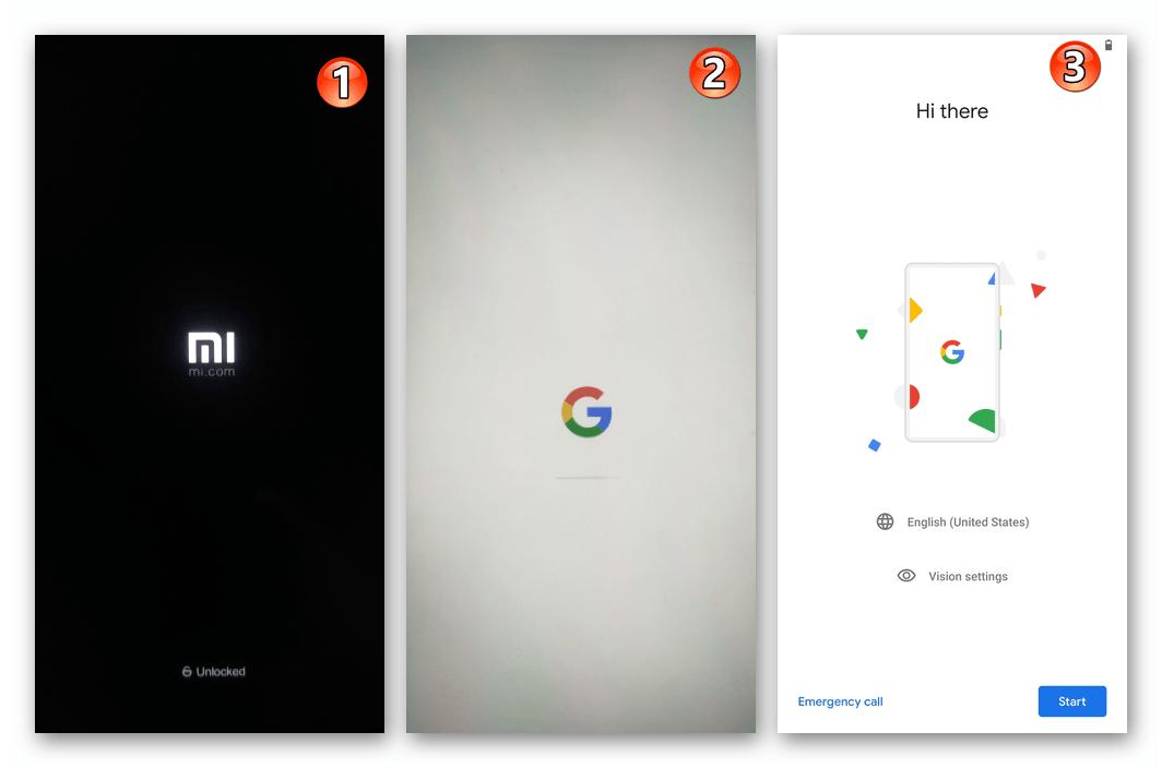 Xiaomi Redmi 5 Plus первый запуск кастомной прошивки после ее инсталляции через TWRP