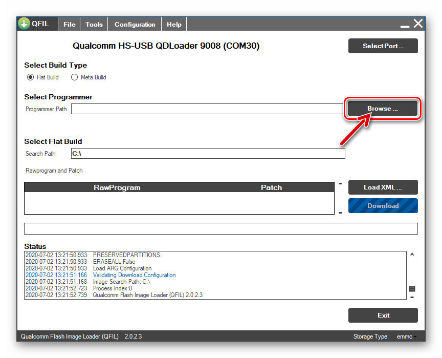 Xiaomi Redmi 5 Plus QFIL кнопка Browse возле поля Select Programmer