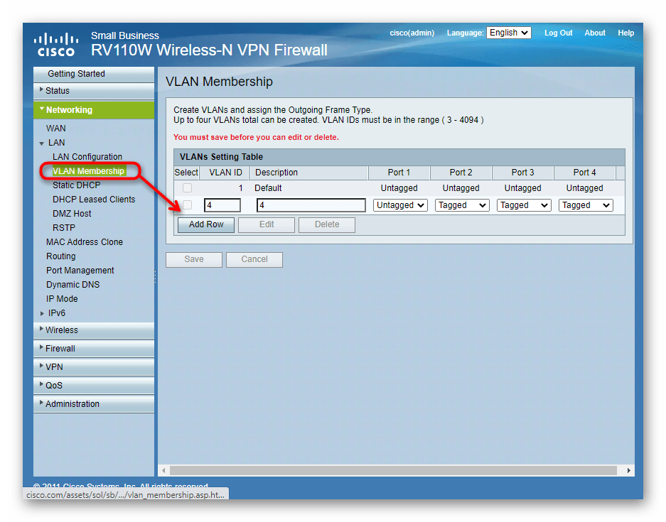 Добавление виртуальных локальных сетей через веб-интерфейс роутера Cisco