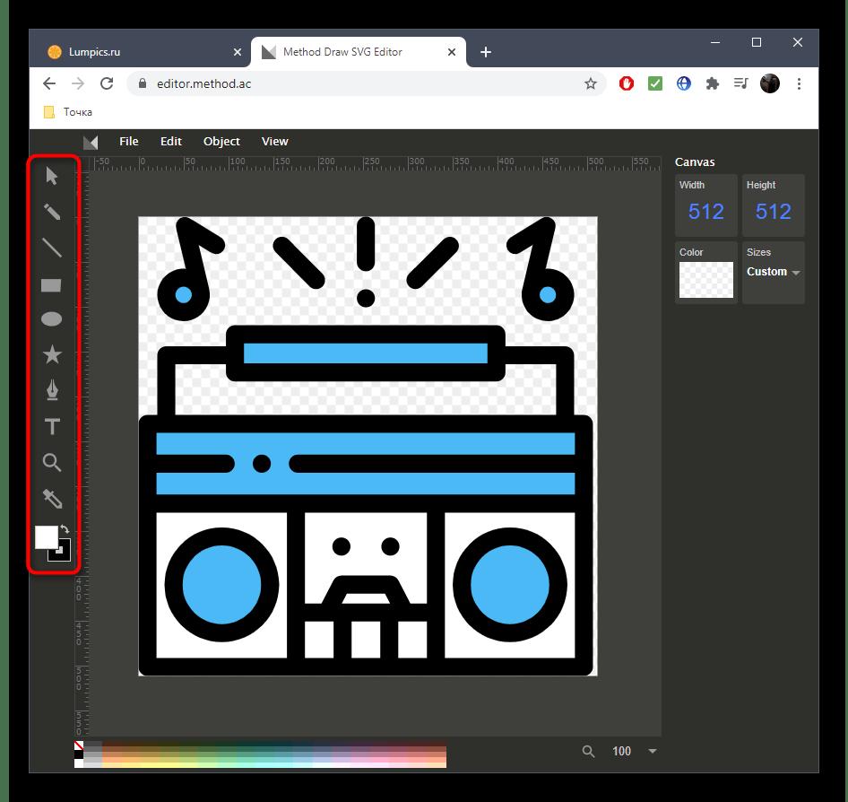 Использование панели инструментов для редактирования SVG через онлайн-сервис Method
