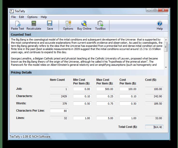 Использование программы TexTally для подсчета количества знаков в тексте