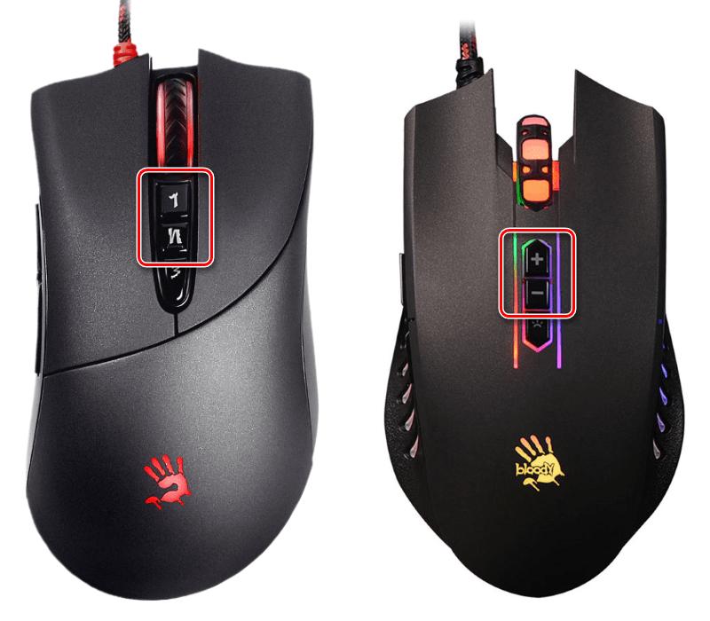Кнопки управления разрешением сенсора на компьютерных мышах A4Tech Bloody