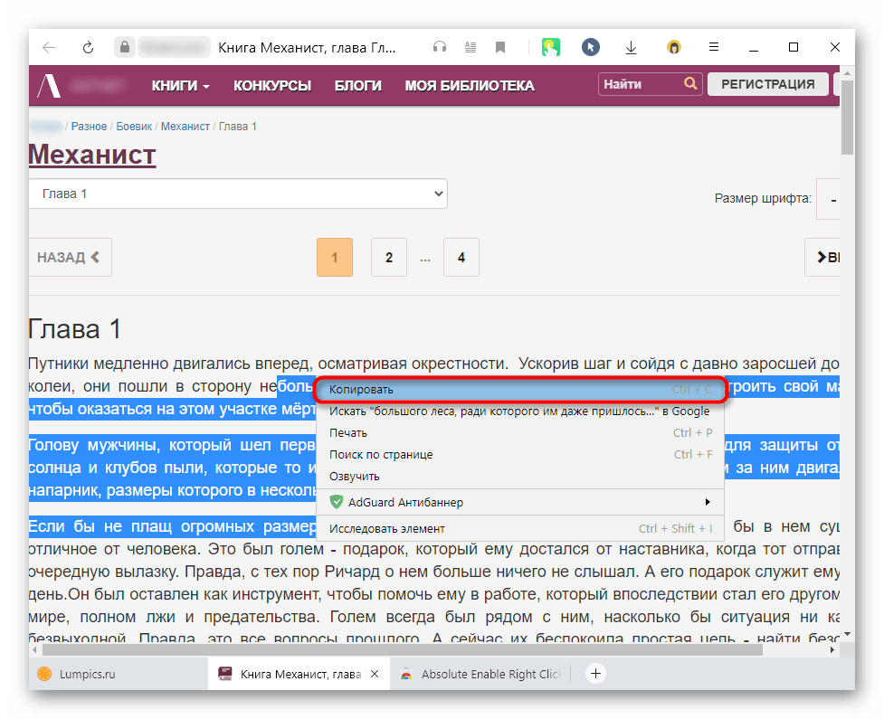 Копирование текста с защищенного сайта после отключения защиты через расширение