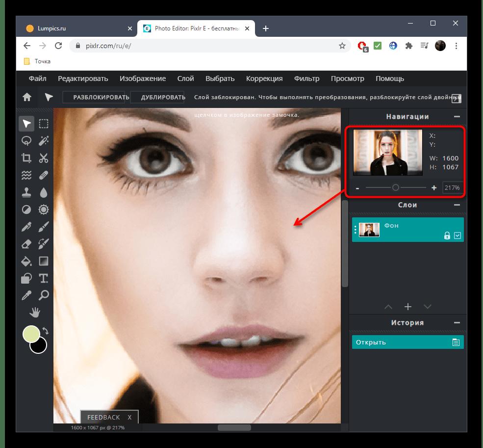 Масштабирование фото перед уменьшением носа на фото при помощи онлайн-сервиса PIXLR
