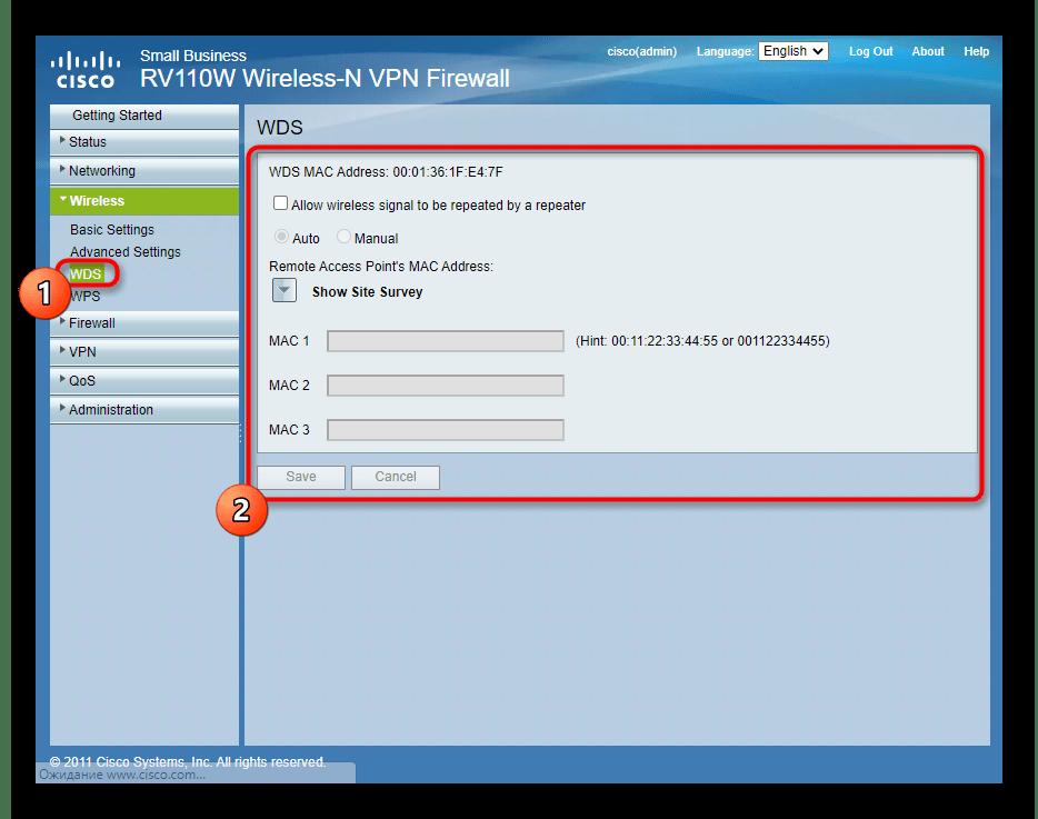 Настройка беспроводной сети роутера в режиме репитера через веб-интерфейс Cisco