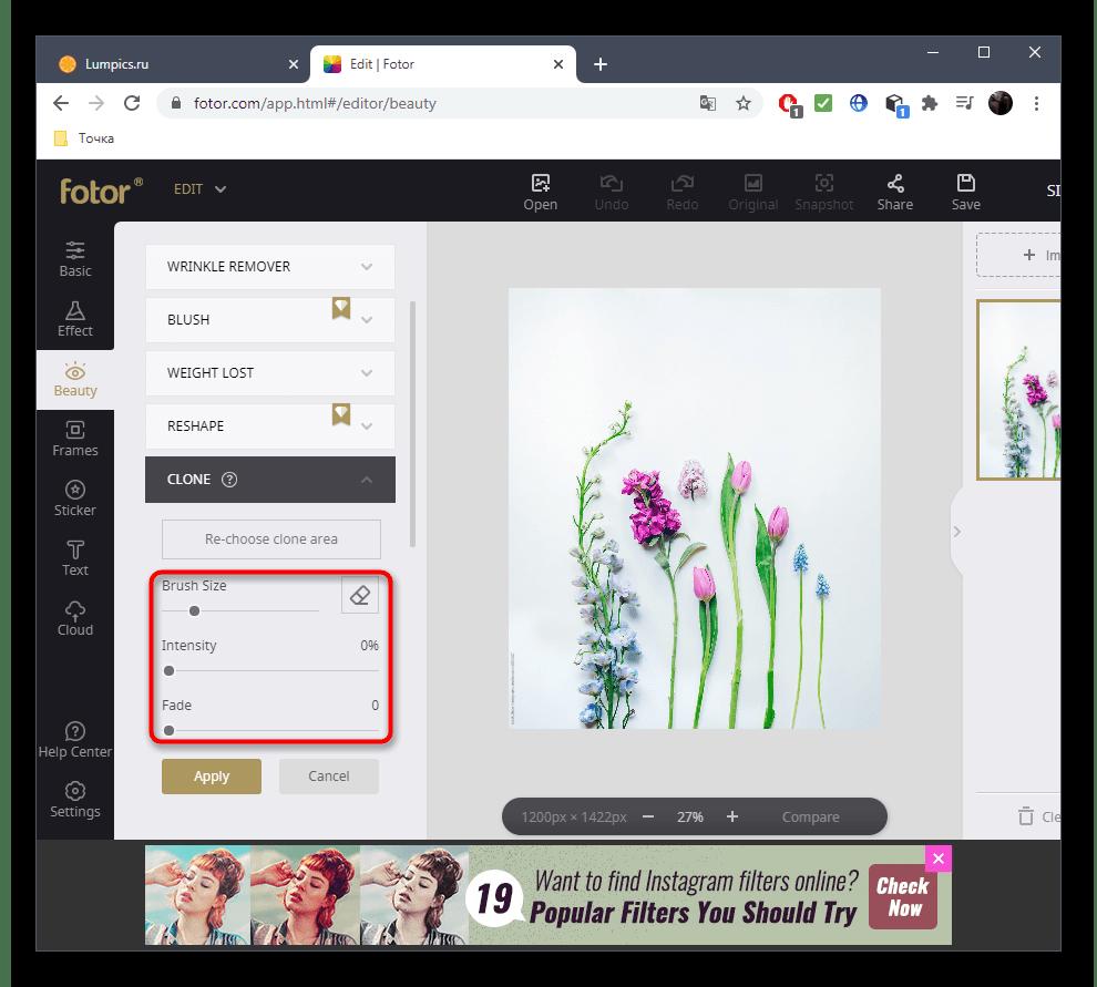 Настройка инструмента для удаления лишнего с фото при помощи онлайн-сервиса Fotor