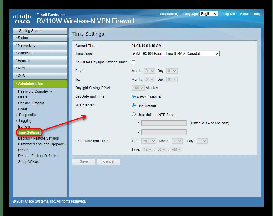 Настройка времени через инструменты администрирования роутера Cisco