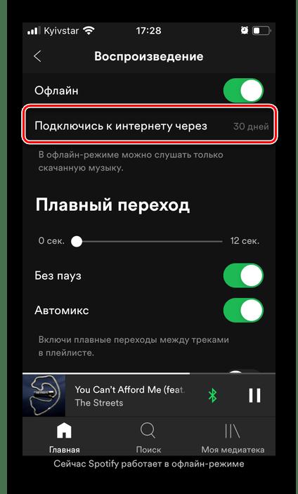 Необходимость подключения к интернету через 30 дней в приложении Spotify на iPhone