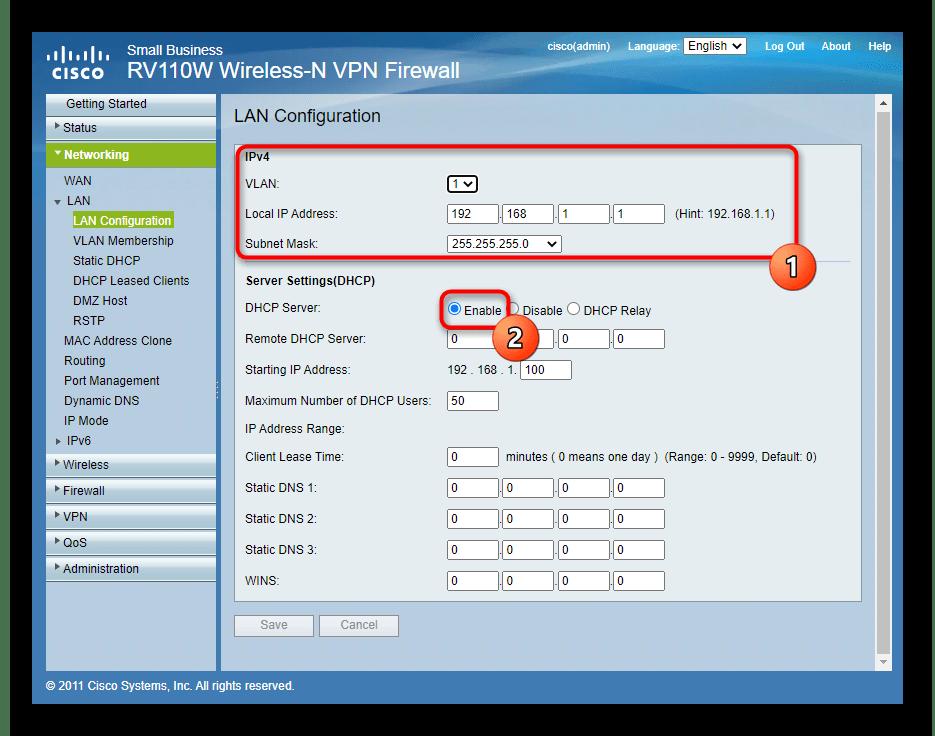 Общие настройки локальной сети через веб-интерфейс роутера Cisco