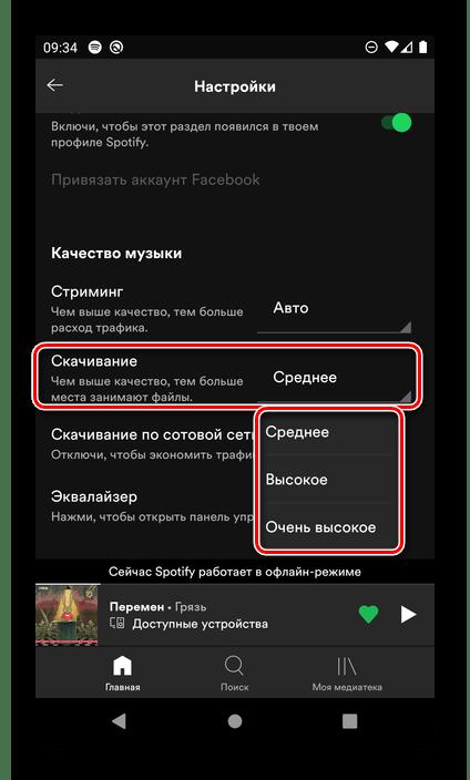 Определение качества скачиваемой музыки в настройках мобильного приложения Spotify для Android