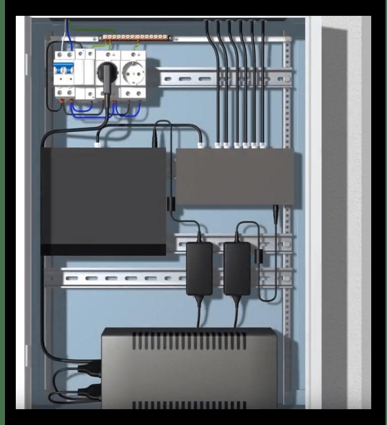 Организация соединения оптоволокна с оборудованием в слаботочном щитке