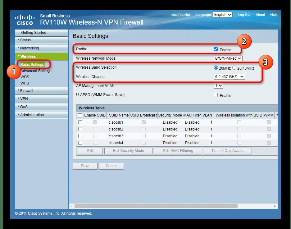 Основные настройки беспроводной сети при ручной настройке роутера Cisco