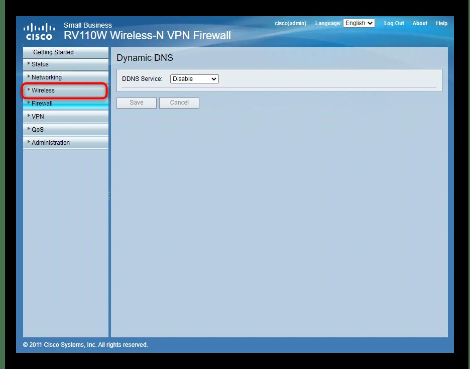 Переход к настройкам беспроводной сети через веб-интерфейс роутера Cisco