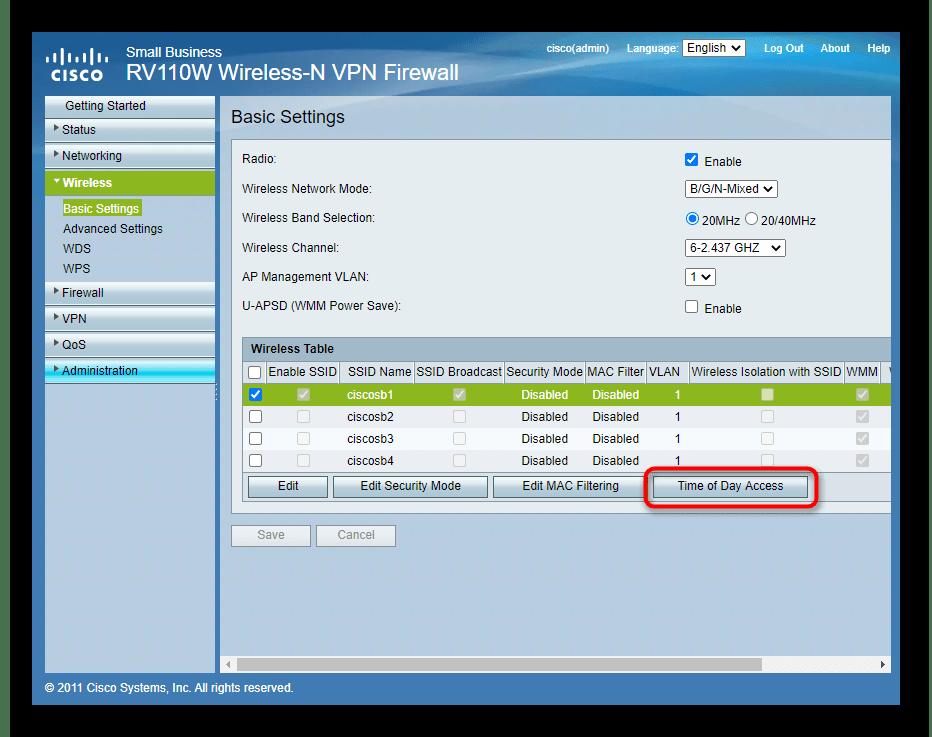 Переход к настройке расписания работы беспроводной сети роутера Cisco