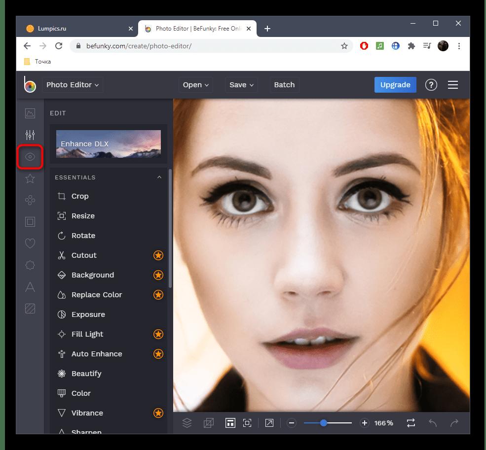 Переход к выбору инструмента для уменьшения носа на фото в онлайн-сервисе BeFunky